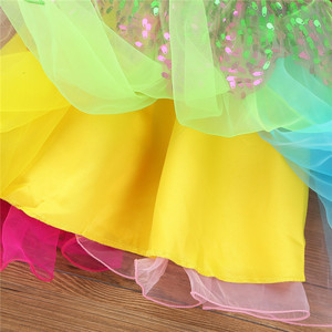 Image 4 - Flower Girls Dress Kids Girls Round Neck Sleeveless Sequined Flower Rainbow Tulle Dress Outfit with Hair Hoop Set For Wedding