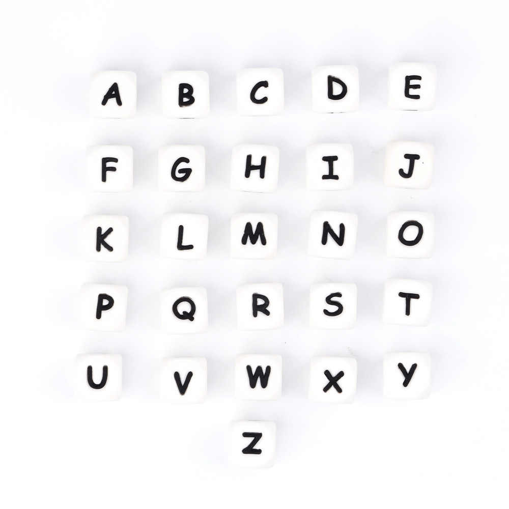 TYRY.HU1 Pcs Alphabet Silicone Teething Beads Food Grade BPA Free Teether Letter Baby Teether Toy DIY Baby Name Pendant necklace