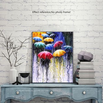 HUACAN Full Drill Square 5D DIY Diamond Painting Street Diamond Embroidery Rain Umbrella Picture Of