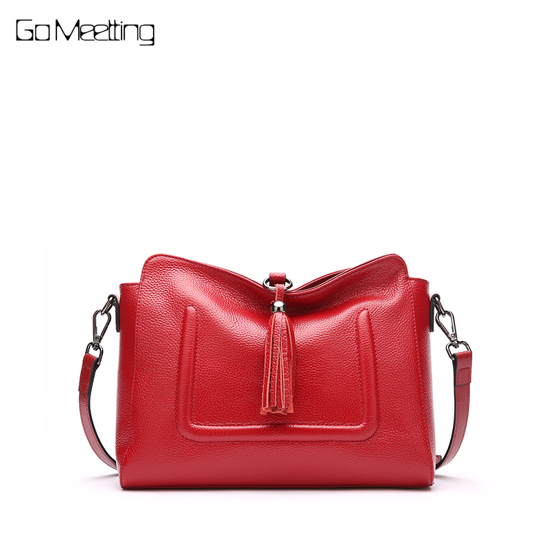 Go Meetting Women Messenger Bags Designer Brand Genuine Leather Shoulder bags for women 2018 hand bag Tote Bag sac a main femme