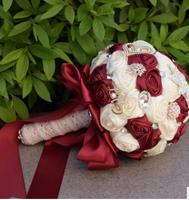Luxury Crystal Beaded Bridesmaid Flower Bouquet White Red Dusty Rose Wedding Flowers Bridal Bouquets Silk Roses Ramo Boda 2018