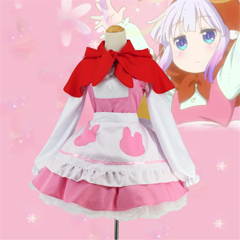 Miss Kobayashi Dragon Maid KannaKamui rouge femme de chambre robe de cuisinier 80cm perruques Cosplay Costumes Halloween fête arc Prop