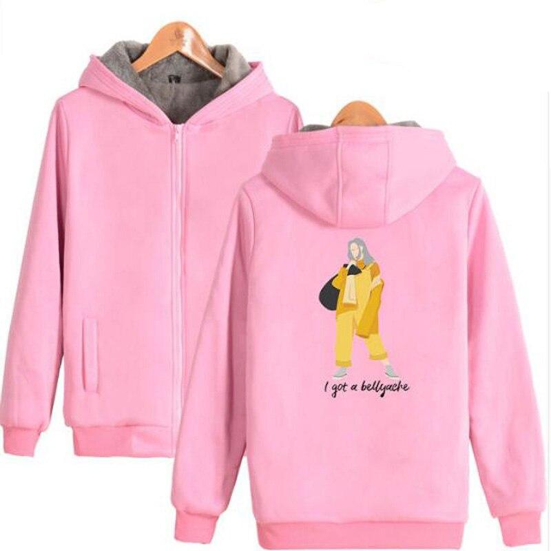 Winter Jacket Women KPOP Billie Eilish Pink Hoodie Thicken Zipper Hooded Sweatshirt Outwear Warm Coat Tumblr Clothing Streetwear