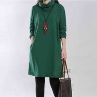 c1089d18 Fashion High Neck Soft Knitted Cotton Maternity Dress 2016 Autumn Winter  Clothes For Pregnant Women Pregnancy