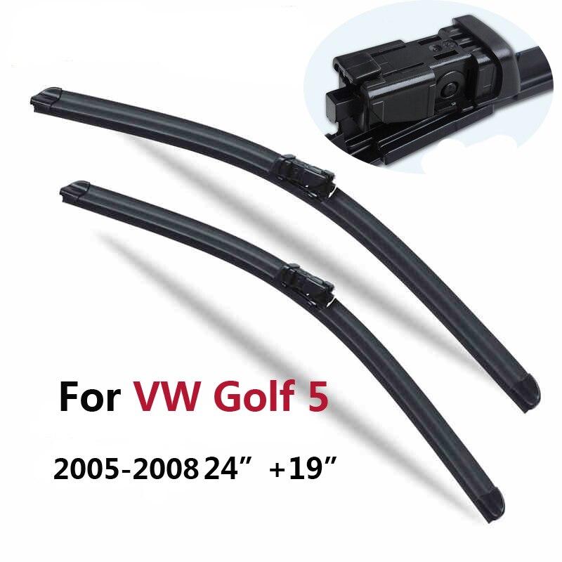 """Livraison gratuite Paire D'essuie-Glace Pare-Brise lames pour VW Volkswagen Golf 5 6 Mk5 Mk6 (2005-2012) 24 """"et 19"""" ajustement bouton poussoir bras d'essuie-glace"""