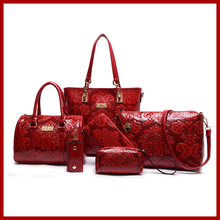 Las mujeres Bolsos de Hombro de Moda de Estilo Chino de Asas Casual Femininas bolsas Elegante Bolsa 6 Unids/set Floral Bolsos de Cuero de Alta calidad