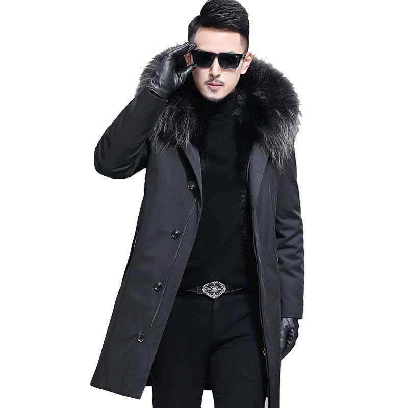 Chaude Doublure Avec Capuchon 2018 Amovible Épaisse Outwear Mens Raton Parka Grande Hiver Chaud Manteau Fourrure Laveur Beige À De Luxe vgS7wxv