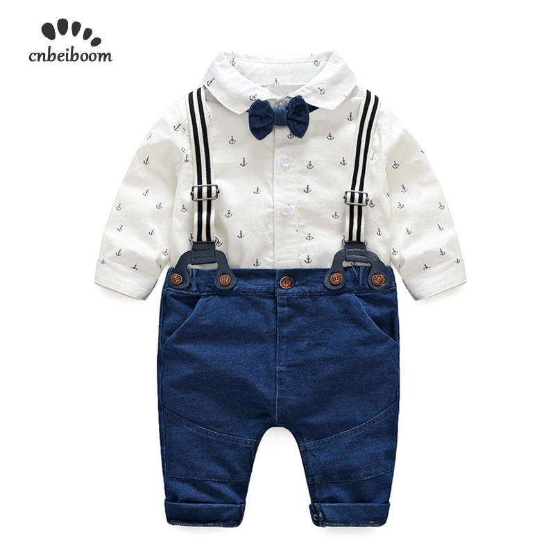 2019 Spring autumn baby clothes baby clothing set long sleeve cotton bow tie baby rompers+pants 2pcs toddler gentleman set dress