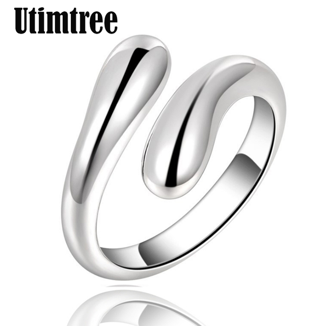 Utimtree Big Promotion Silver Color Water Drop Korean Open Rings For Women Girls Party Birthday Gifts Wedding Adjustable Ring