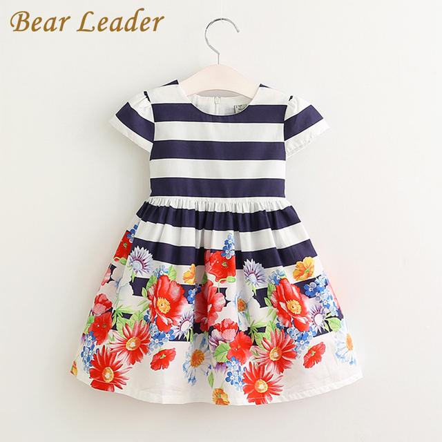 Bear leader meninas vestem 2017 vestidos de marca menina do verão crianças manga curta flores padrão listrado na altura do joelho-comprimento de vestido de princesa