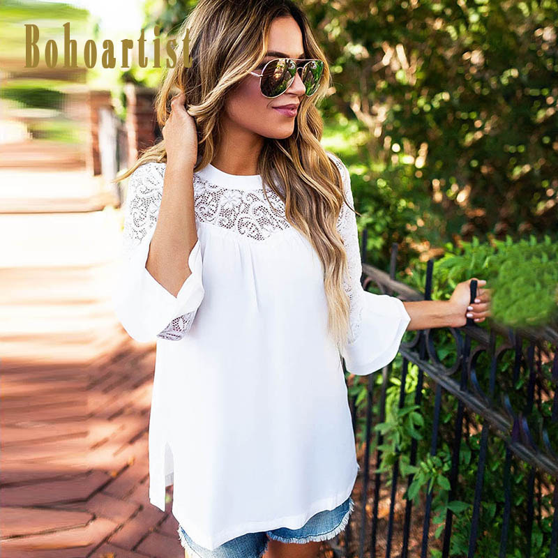 Bohoartist Boho Women White Lace Blouse O-Neck Summer Tops Patchwork Shirt Solid