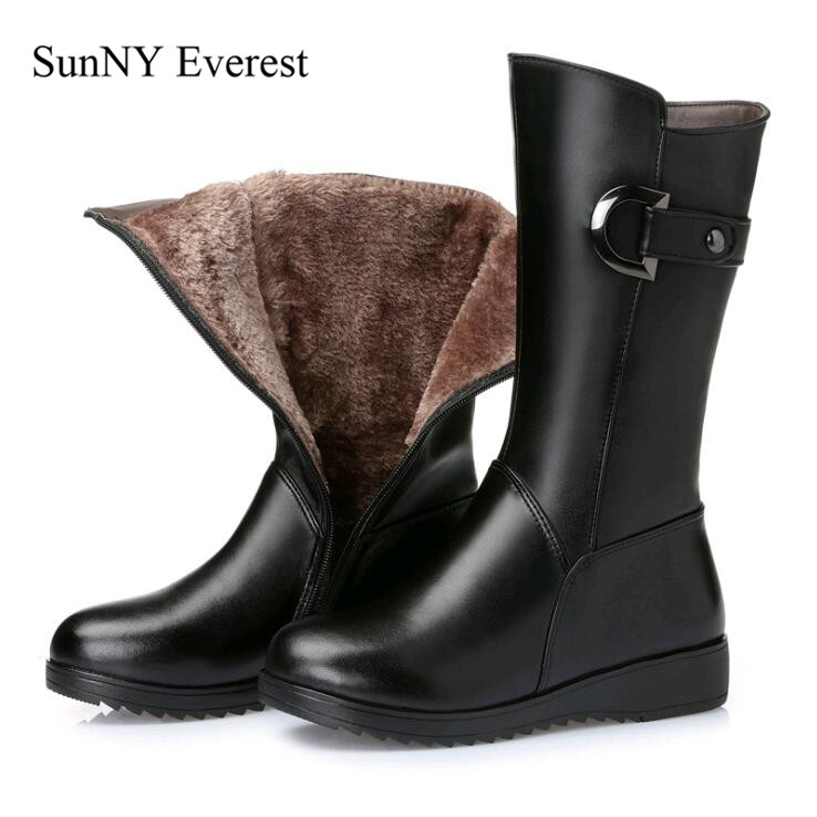 SunNY Everest boots woman winter leather cow plush shoes Mid-calf wedges 5cm lady boots zipper botas de mujer black 35-43 us12 ворота с баскетбольным щитом romana 203 10 00