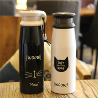 2018 Creative Cute Cat Stainless Steel Thermos Bottle Portable Vacuum Cup With Handle Black And White