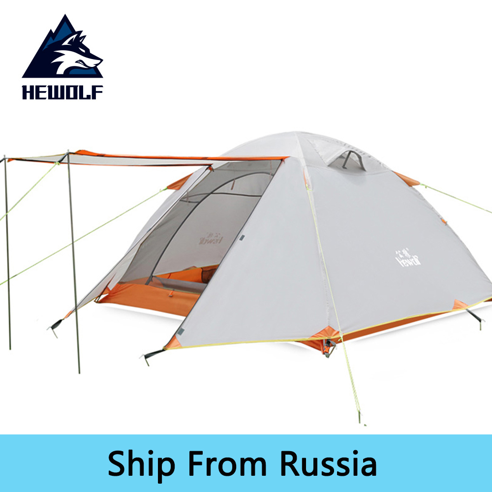Hewolf Double Layer 3-4 Person Camping Tent Anti-UV Waterproof Outdoor Hunting Fishing Picnic Hiking Tourist Tents For Family new outdoor 3 4person big space anti uv pyramid beach tents waterproof family camping tent