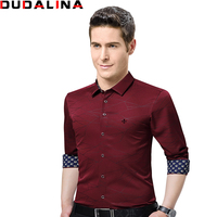Dudalina 2017 New Fashion Brand Clothing Mens Shirts Casual Slim Fit Geometric Long Sleeve Shirts For