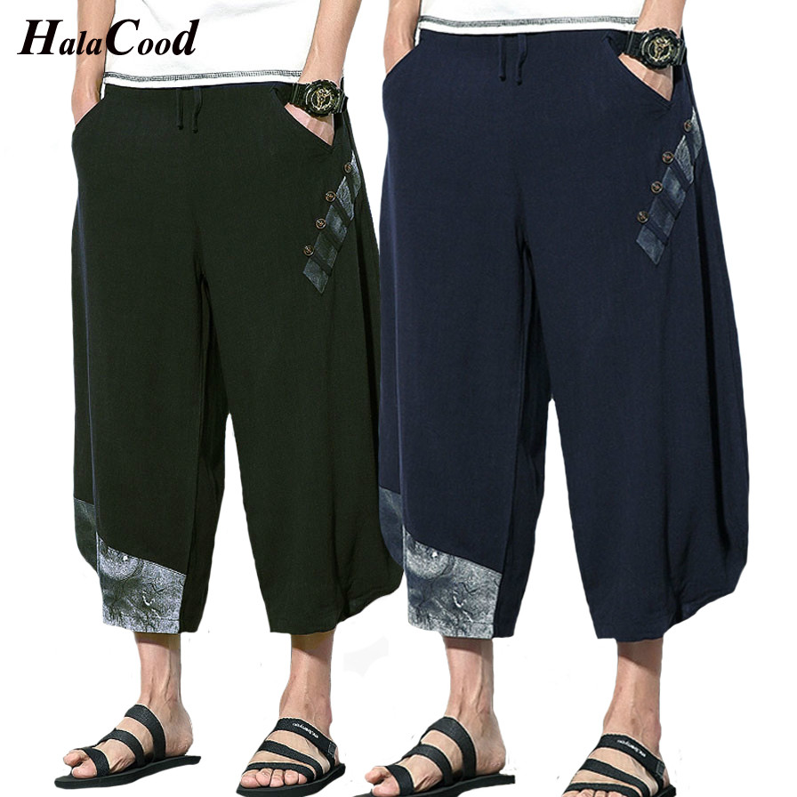Fashion Men/'s Cotton Linen Hemp Loose Shorts Leg Pants Beach Sport Pants Summer