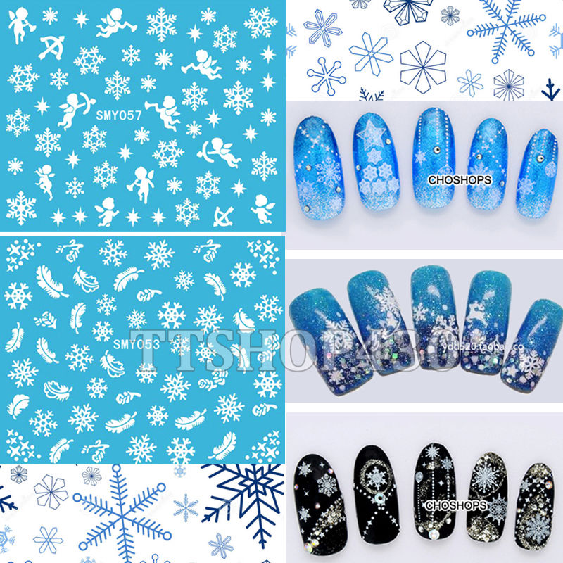HOT! 12 Sheets IN 1 Mixed Style Snowflakes Christmas 3D Nail Art Sticker Tips Decals Manicure DIY X mas Sticker SMY049 060
