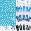 ¡ CALIENTE! 12 Hojas DE 1 Mezcló el Estilo Copos de Nieve de Navidad 3D Nail Art Sticker Tips Adhesivos DIY Manicura X'mas Etiqueta SMY049-060