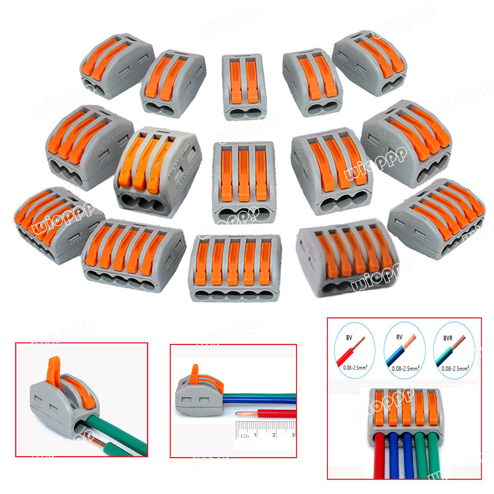 2/3/5 Holes Connector Wire Reusable Spring Lever Terminal Block for Electric Cable Wiring Conduction WAGO Type