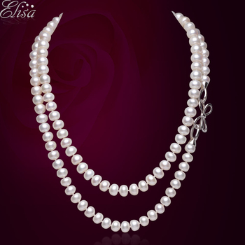 noble women gift Jewelry Silver Clasp Double Strand Natural 7.5-8MM Pearl Necklace 90cm Long Winter Necklace