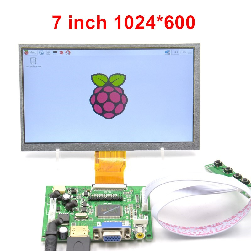 Raspberry Pi 7 Screen Display 7 Inch Lcd Dispaly + LCD Driver board + White cable + Long key board + USB HDMI HD 1024x600