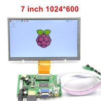 Raspberry Pi 7 Screen Display 7 Inch Lcd Dispaly + LCD Driver board + White cable + Long key board + USB HDMI HD 1024x600