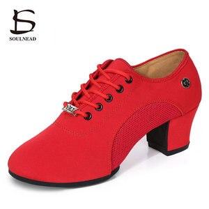 Image 1 - Chaussures de danse pour femmes, baskets de danse à talon moyen en tissu à semelle souple, antidérapantes, pour pratique Tango