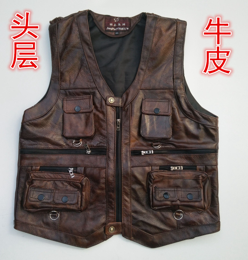 Autumn/winter 2020 head layer cowhide leather vest men vest Leather vest pocket