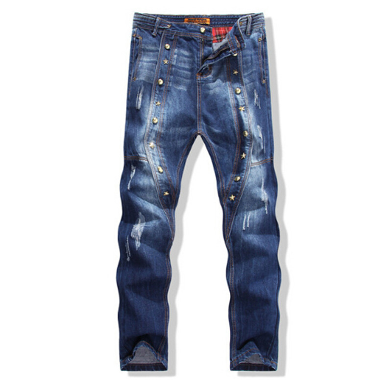Europe and the United States men's wear jeans crotch nail rivet jeans pants slim personality Haren male