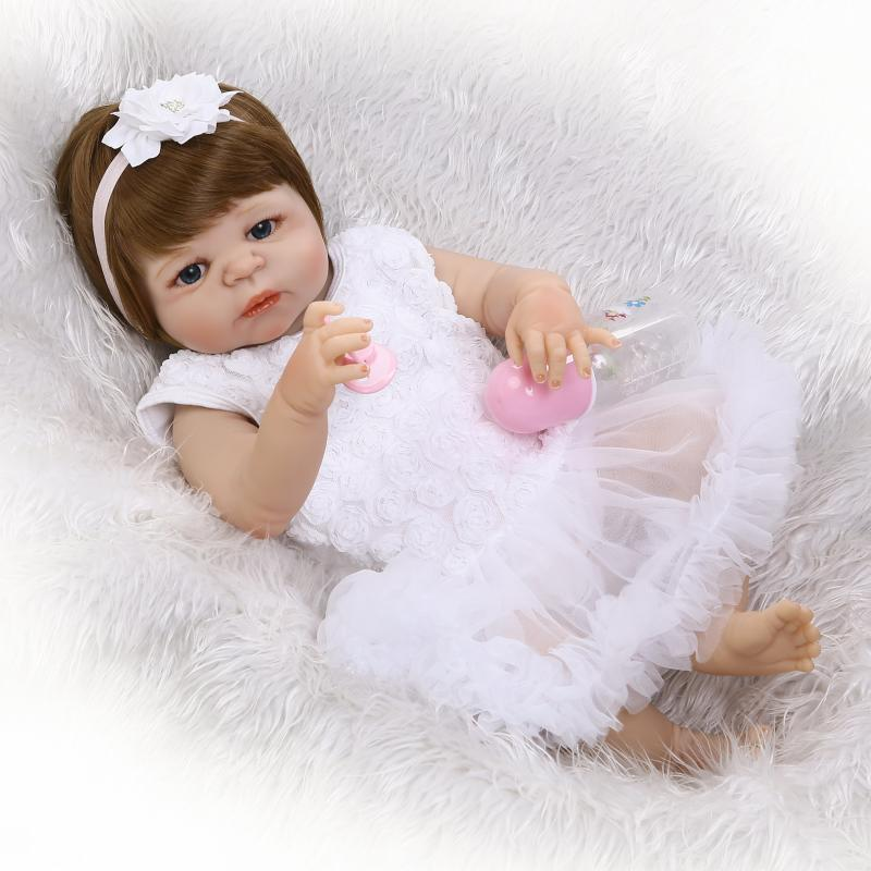 23 Inch Princess Girl Baby Doll Lifelike Full Silicone Vinyl Reborn Dolls With White Dress Suit Real Touch Babies Toy For Sale handmade 18 inch girl doll plastic toy dolls for girls toy gifts 45cm princess dolls bjd doll with red dress and shoes