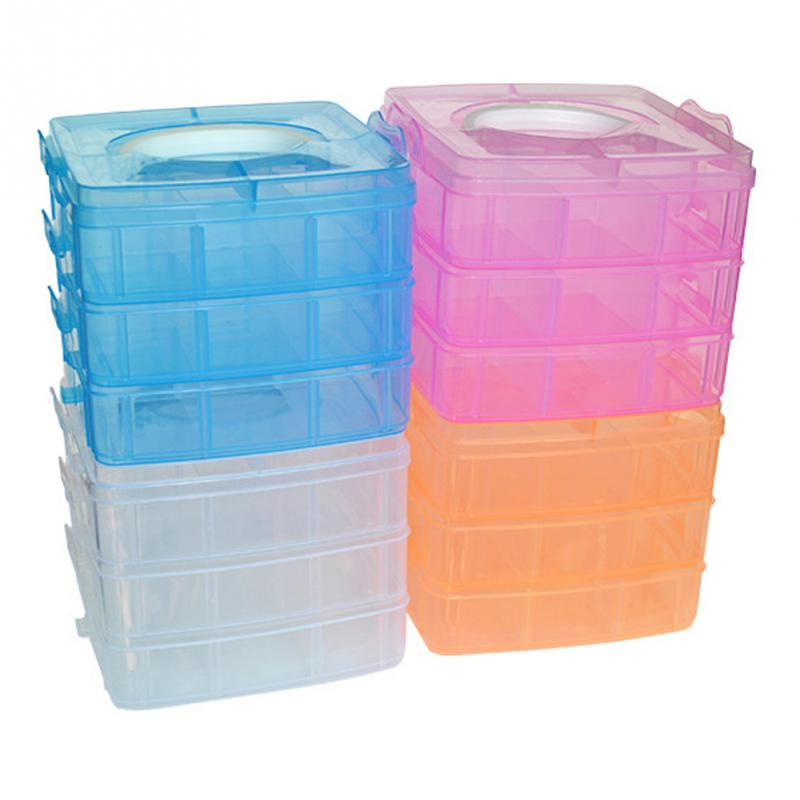 3 Layers Detachable DIY Plastic Storage Box Desktop Transparent