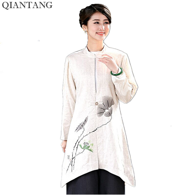 New Arrival Beige Women Long Jacket Linen Cotton Coat Classic Chinese Spring Autumn Tang Clothing Size S M L XL XXL XXXL 2533