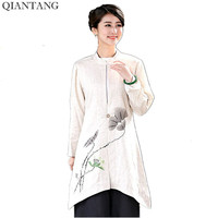 New Arrival Beige Women Long Jacket Linen Cotton Coat Classic Chinese Spring Autumn Tang Clothing Size