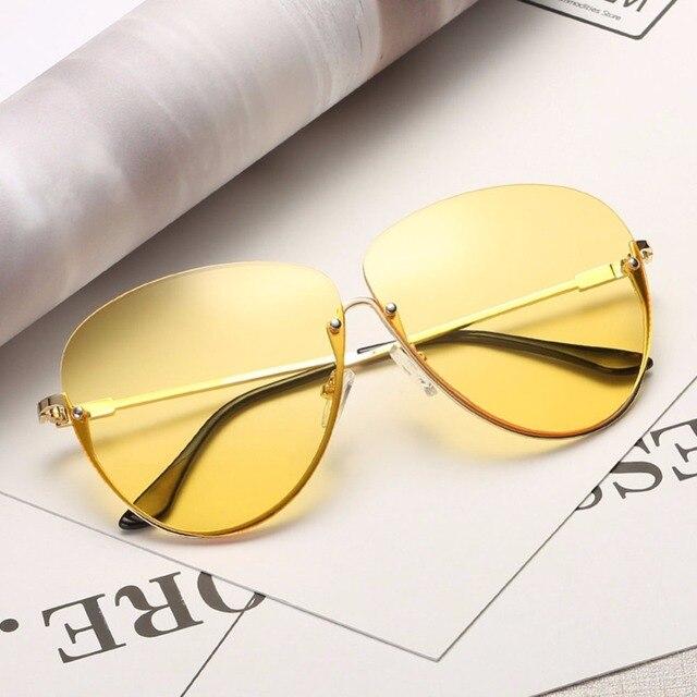 Rimless Cat Eye Women Sunglasses Transparent Fashion Brand Designer Sunglasses Lady Clearly Large Metal Frame UV400 3