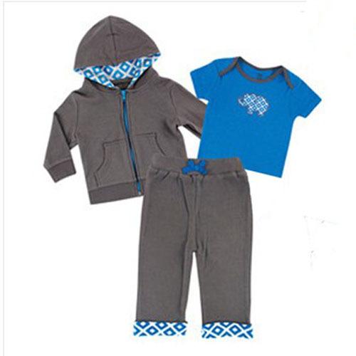 3 unids/lote bebé recién nacido ropa bebé carácter sistemas de la ropa del bebé del juego Hoody + camisa de mangas cortas o Romper + Pants para el otoño