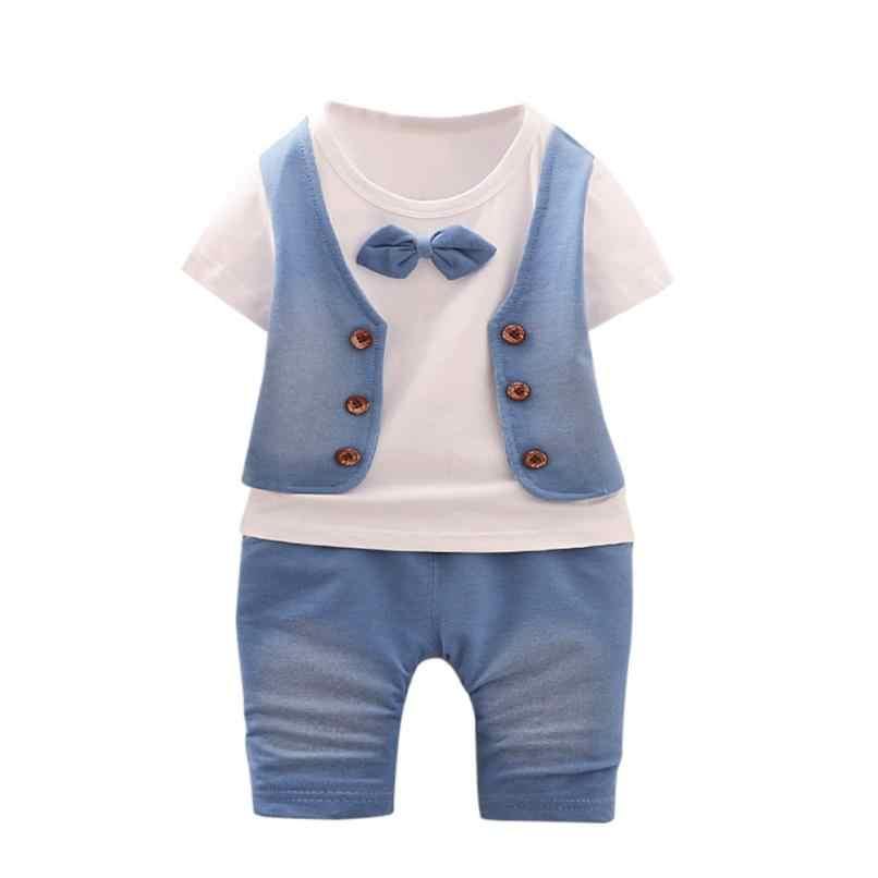 2018 Da Criança Do Bebê Dos Miúdos Meninos Roupas de Manga Curta T-shirt + Calças Roupas Cavalheiro Conjunto Confortável E Respirável 5.30