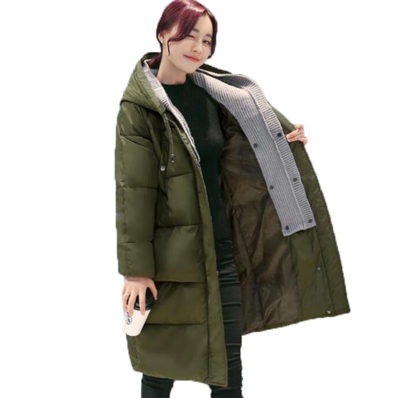 2016 Winter Jacket Women Casual Thick Warm Parkas Hooded Long Outerwear Cotton Wadded Female Jackets and Coats PW0994 korean winter jacket women large size long coat female snow wear cotton parkas hooded thick warm coats and jackets 7 colors