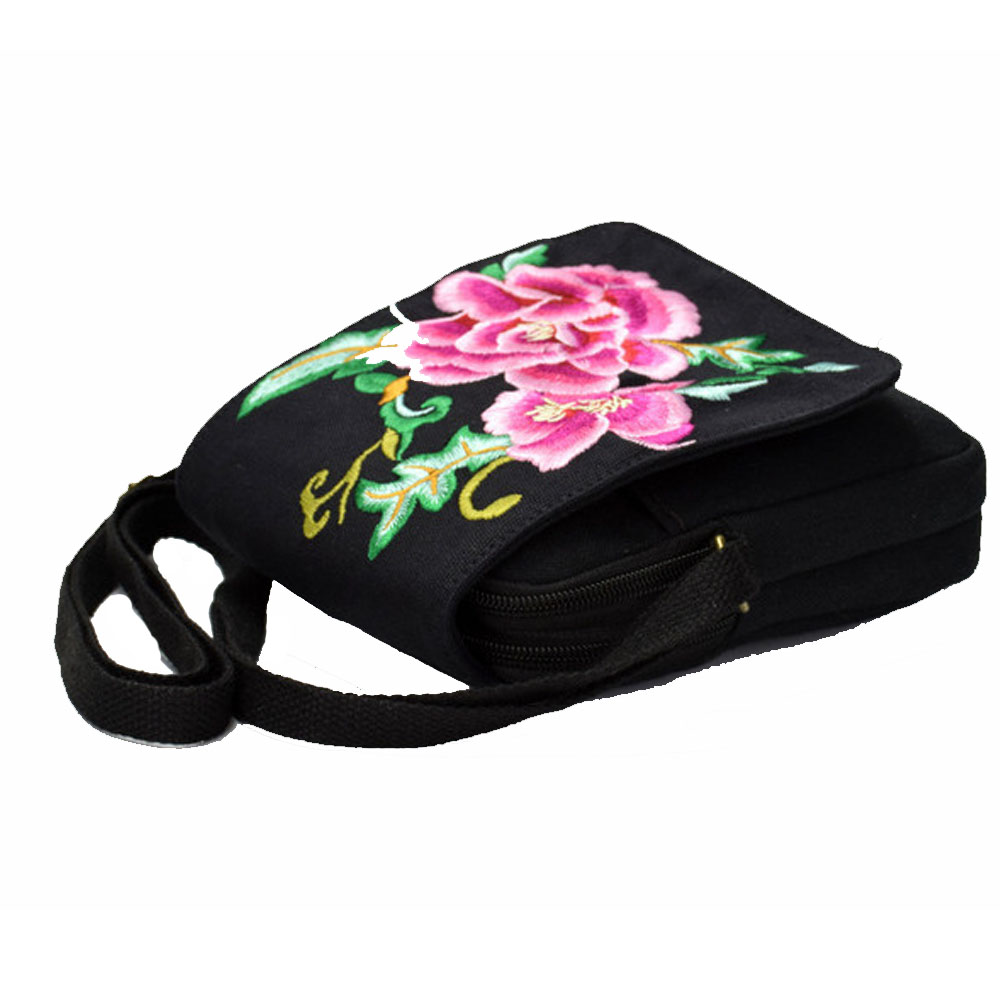New Women Cellphone Bag Floral Embroidered Mini Vintage Messenger Crossbody Bag