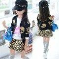 Meninas roupas hot stamping crânio imprimir casacos meninas leopardo + dress saias duas peças conjunto de roupas crianças miúdos 4-2-pass roupas