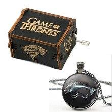 Game of Thrones Wood Music Box Stark Family Lion Wolf Dragon Deer Lannister Targaryen Arryn Greyjoy Family Members Necklace stark music