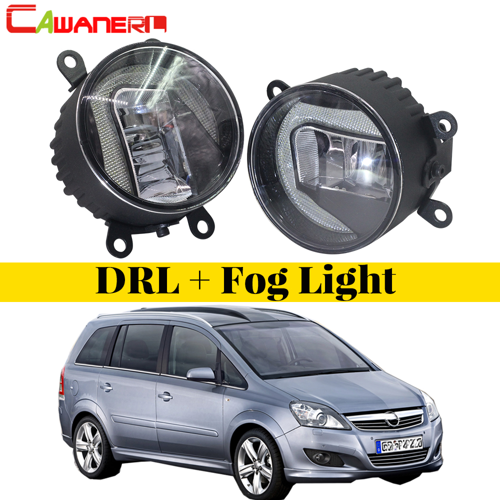 Cawanerl 1 Pair Car Styling LED Fog Light DRL Daytime Running Driving Light White 6000K 12V For Opel Zafira B MPV A05 2005-2011 eemrke car styling for opel zafira opc 2005 2011 2 in 1 led fog light lamp drl with lens daytime running lights