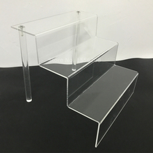 Clear Acrylic Dessert Shelf Plexiglass Cupcake Stand 3 Tier Display Riser Rack With Perspex Rod 75mm Depth Each