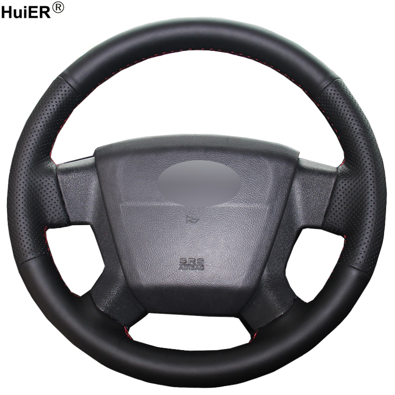 HuiER Hand Sew Car Steering Wheel Cover Breathable Car Styling Black Leather For Jeep Compass 2006-2010 Old Patriot 2007-2010