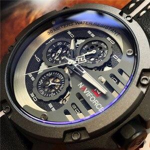 Image 1 - NAVIFORCE Herrenmode Sport Uhren Wasserdicht Lederband Kreative Analog Quarz Armbanduhr Männer Uhr Relogio Masculino