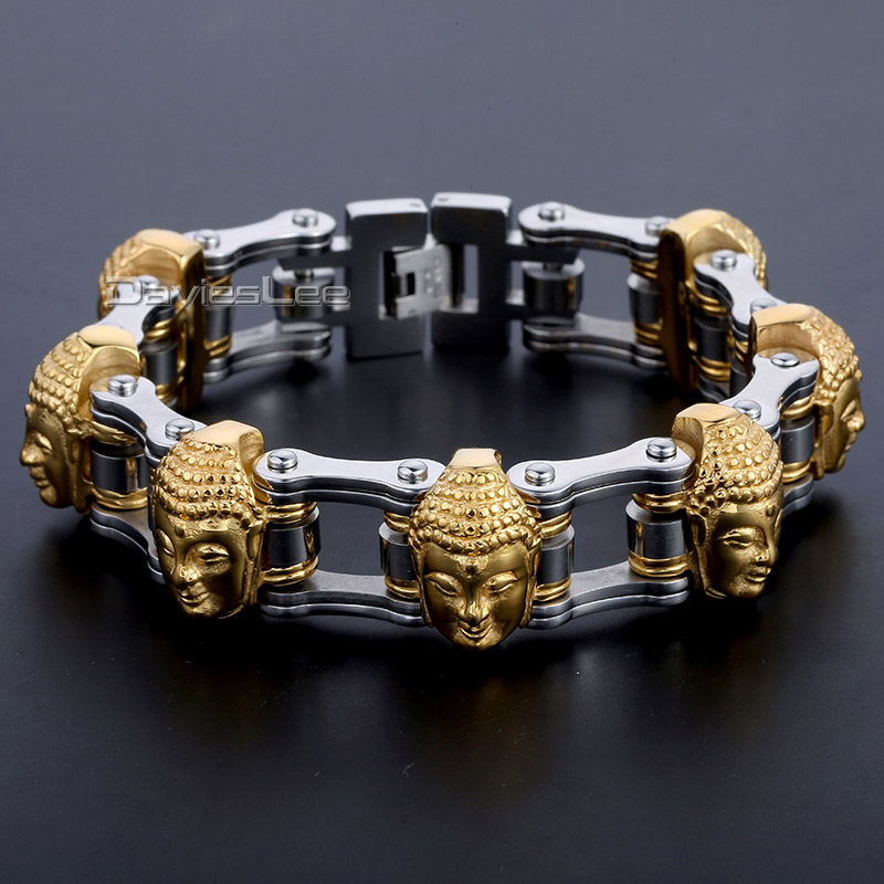 Davieslee 21mm Wide 7 Gold-color Buddha Heads Biker Motorcycle Chain 316L Stainless Steel Bracelet Boys Mens Jewelry DLHB451