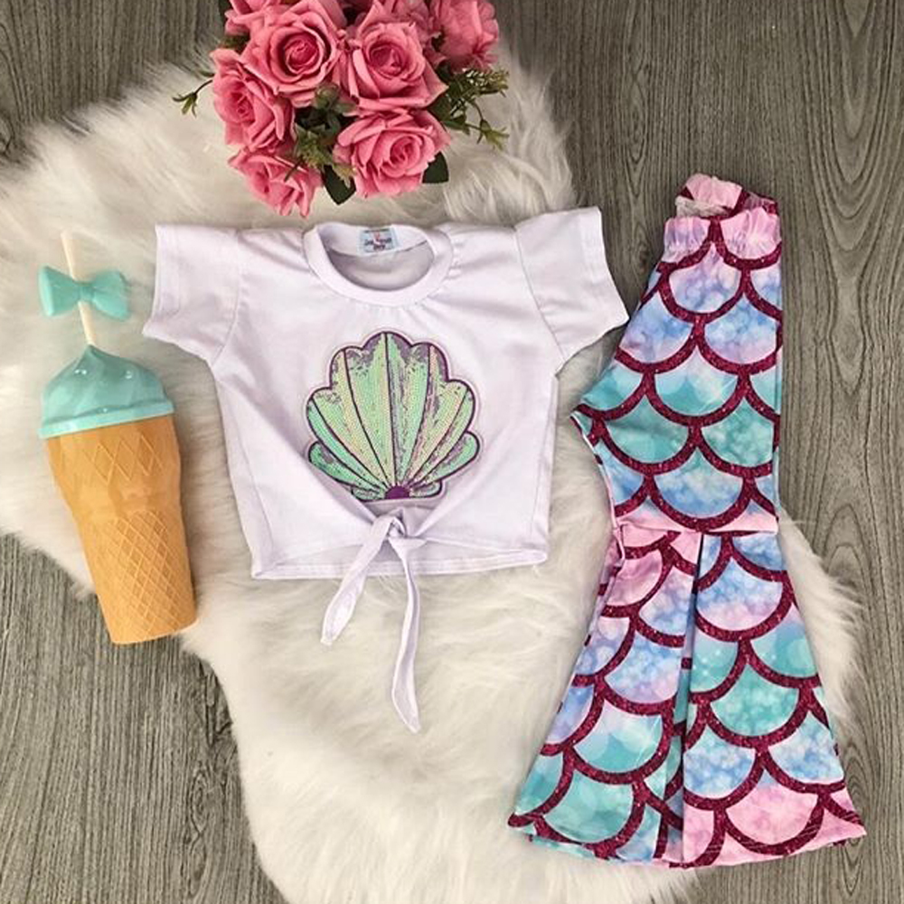2PCS Kids Baby Girls Summer Mermaid Tops T-Shirt Flared Pants Outfits Sunsuit