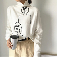 Winter Women Korean Oversized Sweater Streetwear Turtleneck Character Embroidery Pullovers Cashmere Knitted Jumpers Mujer Sueter