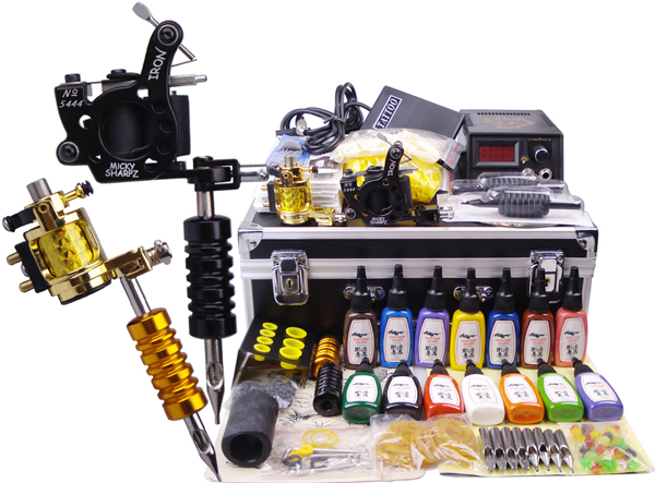 US $125.4 43% OFF|Complete 2 Gun Tattoo Kits Professional Machine Equipment  Teaching CD Ink Needles Power supply For Beginners Body with Carry Box-in  ...