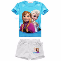 2 8 Yrs 2016 New Summer Children S Sets Elsa Anna Clothes Girl Clothing Set Children