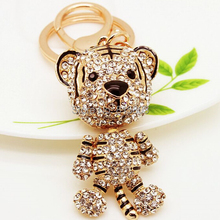 Free Shipping! Bling Full Rhinestones Cute Tiger Animal Car Key Chain Jewelry Wholesale and Retail